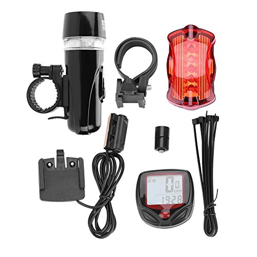 5LEDs Bike Headlight and Taillight Combination Speedometer Accessories Set Mountain Biking, Road Cycling,Night Riding