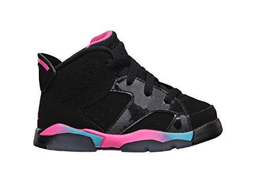 [384667-050] AIR JORDAN RETRO 6 TD HARD BOTTOM INFANTS SHOES BLACK / PINK FLASH-MARINA BLUE