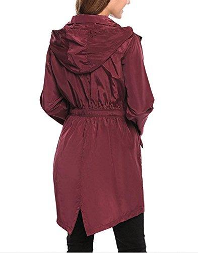 Imperméable Capuche Vin De Manteau Réutilisable Cape Pluie Ponchos À Combinaison Rouge Raincoat Avec Filles Femmes Poncho 5n8wx6Bq6