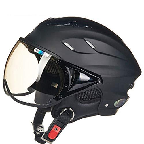 (3/4 Open Motorcycle Helmet for Men Women Black,Electric Motorbike Scooter ty Helmet Matte Black)