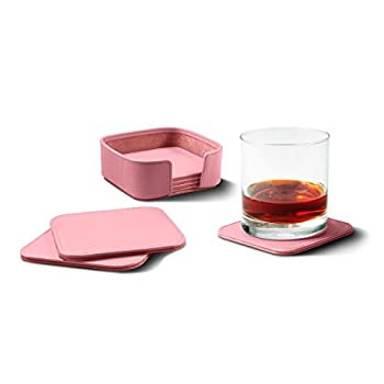 Image of Lucrin - Set of 6 square coasters - Pink - Genuine Leather Coasters