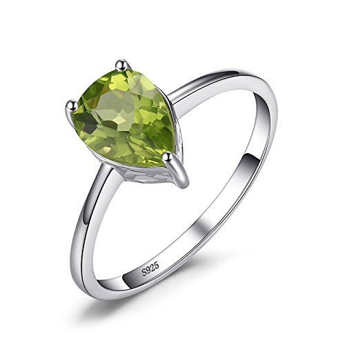 JewelryPalace Pear 1.3ct Natural Green Peridot Birthstone Solitaire Ring 925 Sterling Silver Size 8
