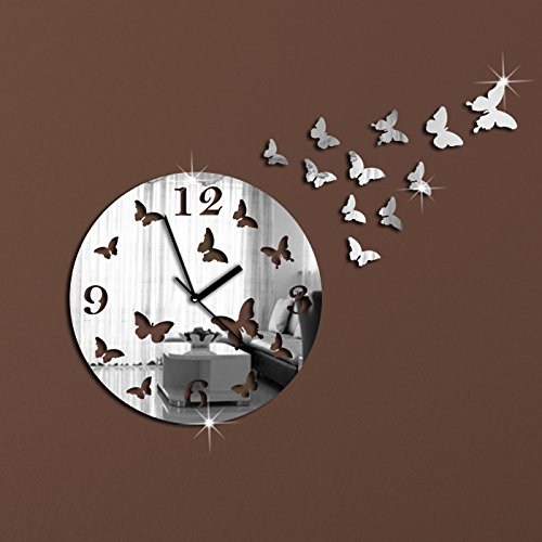 - Alrens_DIY(TM)Silver 11 Butterflies Sculpture Art Mordern Luxury Design DIY Removable Acrylic Quiet Quartz Clcok Watch 3D Crystal Mirror Surface Wall Clock Wall Sticker Home Decor Art Living Room Bedroom Decoration