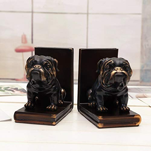 TLLDX Statuette Statue Figurine Sculpture Vintage Puppy Bookends Ornaments Chinese Village Dog Book Stand Crafts Creative Study Bookcase Home Office Soft Decoration Gifts ()