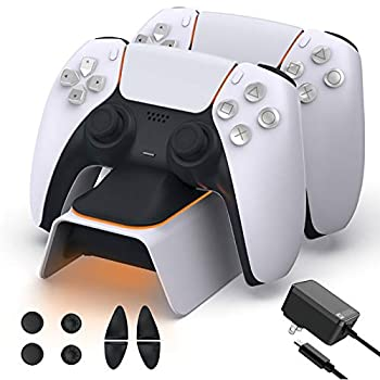 NexiGo Upgraded PS5 Controller Charger with Thumb Grip Equipment, Quick Charging AC Adapter, Dualsense Charging Station Dock for Twin Ps 5 Controllers with LED Indicator, White