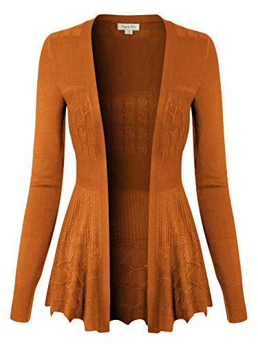 Design by Olivia Women's Long Sleeve Crochet Knit Draped Open Sweater Cardigan Honey 2XL ()