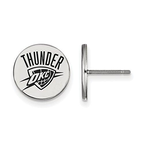 NBA Oklahoma City Thunder Small Enamel Disc Earrings in Sterling Silver by LogoArt