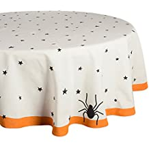 "DII 70"" Round Cotton Tablecloth, Black Stars - Perfect for Halloween, Dinner Parties and Scary Movie Nights"