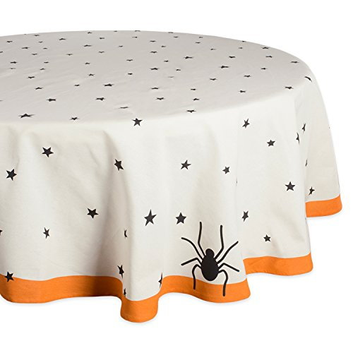 DII 70 Round Cotton Tablecloth, Black Stars - Perfect for Halloween, Dinner Parties and Scary Movie Nights