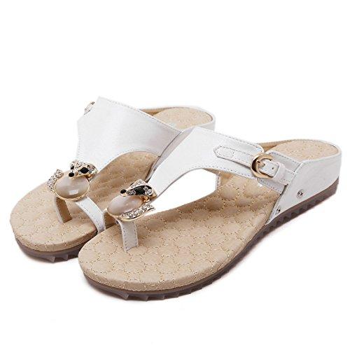 D2c Beauty Mujeres Rhinestone Slip On Summer Casual Sandalias Planas Blancas