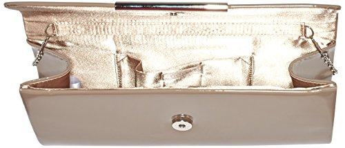 Berydale - Bolso de mano de charol para mujer, clutch, bandolera con cadena adicional y cierre magnético Gris (Taupe)
