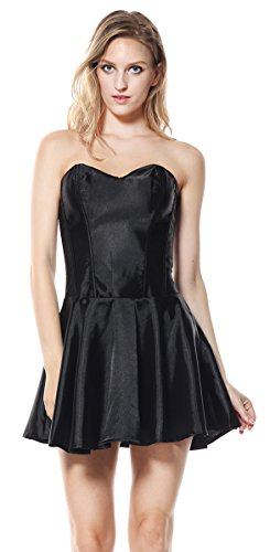 Black Satin Strapless Dress - 1