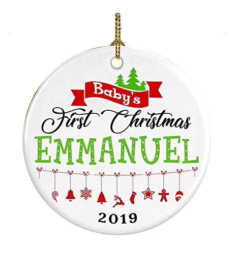 Cheyan Decoration Baby First Christmas 2019 Name Emmanuel Gifts for Baby, Kid Ceramic Ornament 3 Inches White