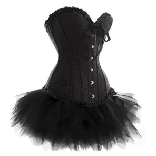 [Plus Size 819+7008 Black Lace Up Overbust Corset Bridal Lingerie With Tutu XX-Large] (Vegas Showgirl Costumes)