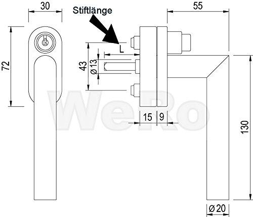 Edelstahl Fenstergriff Rastolive Gehrungsform abschlie/ßbar Stiftl/änge L:37mm