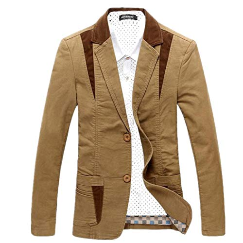 Modern Fantasy Men's Casual Suit Jacket Corduroy Collar 2 Buttons Blazer Jacket Khaki L (Blazer Button 2 Corduroy)