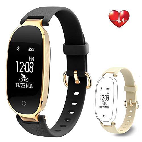 Rayfit Pulsera Actividad Reloj Inteligente Mujer Monitor de Ritmo Cardíaco Fitness Tracker Contador de Calorías Pasos Monitor de Sueño Podómetro Ejercicios Salud Pulsera Deportiva Pulsómetros