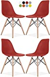 Eames Style Chair by La Valley - Set Of 4 - Mid Century Modern Eames Molded Shell Chair with Dowel Wood Eiffel Legs - for Dining Room, Kitchen, Bedroom, Lounge - Easy-Assemble & Clean - Red