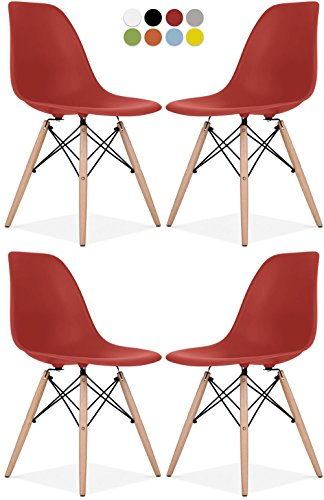 Eames Style Chair by La Valley - Set Of 4 - Mid Century Modern Eames Molded Shell Chair with Dowel Wood Eiffel Legs - for Dining Room, Kitchen, Bedroom, Lounge - Easy-Assemble & Clean - Red by La Valley