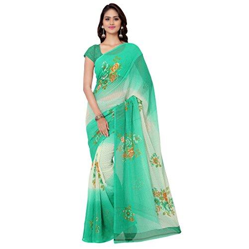 Anand Sarees Georgette Saree (Green-Cream-Multi)