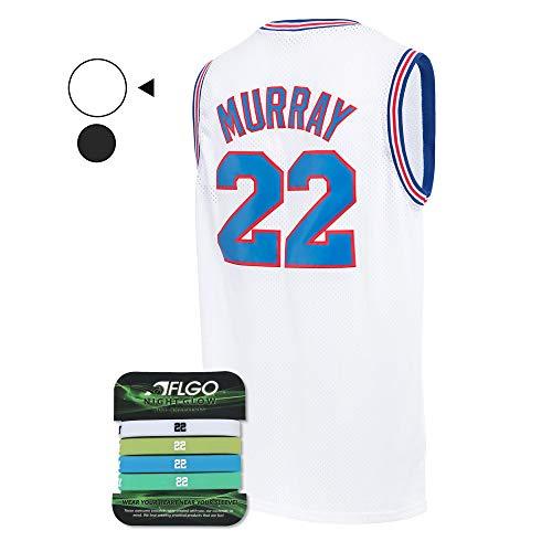AFLGO Murray Space Jersey Basketball Jerseys Include Set Glow in The Dark Wristbands S-XXL (White, S/44)