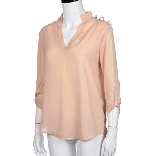 soie longue Rose Kingwo Dcontracte Elegante de Chemisier Robe Mousseline 01 T Manche shirt PqpXPtxwF