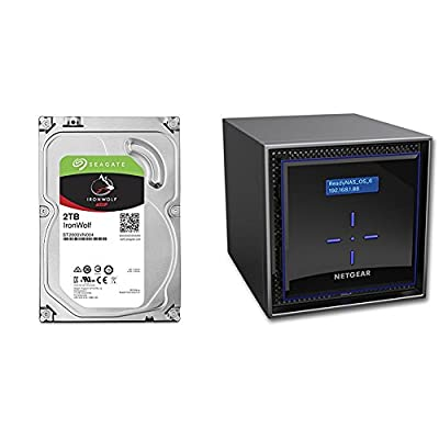 4 X Seagate 2TB IronWolf NAS SATA 6Gb/s NCQ 64MB Cache 3.5-Inch Internal Hard Drive with NETGEAR ReadyNAS RN424 4 Bay Diskless High Performance NAS
