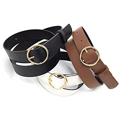GuGio Women's Round Buckle Casual PU Leather Belt Classic