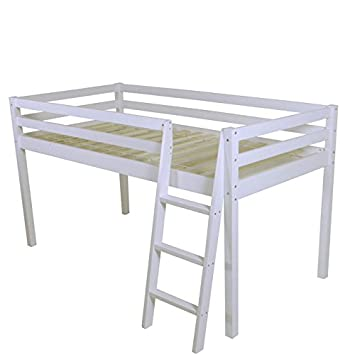 White Solid Pine Shorty Cabin Bed Mid Sleeper Junior: Amazon.co.uk ...