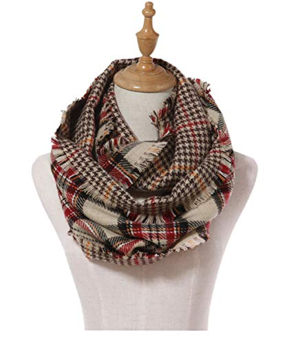 - Lucky Leaf Women Thick Lattice Winter Infinity Circle Loop Scarf Dual Patterns (Beige Red Plaid)