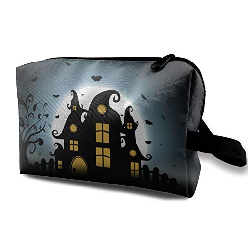 Halloween Silhouette Bat Haunted Houses Multi-function Travel Makeup Toiletry Coin Bag Case ()