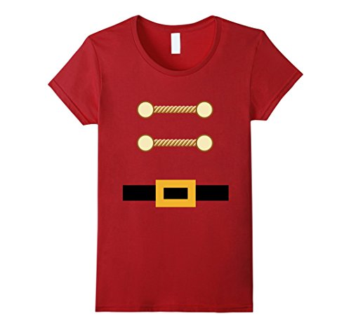 [Womens Toy Soldier Christmas Costume Tee Nutcracker Uniform Large Cranberry] (Woman Toy Soldier Costume)