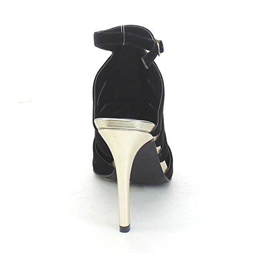 C Label Ariza-1 Dames Enkelbandje Gesp Stiletto Derss Pumps Hoge Hakken, Kleur: Zwart, Maat: 7,5