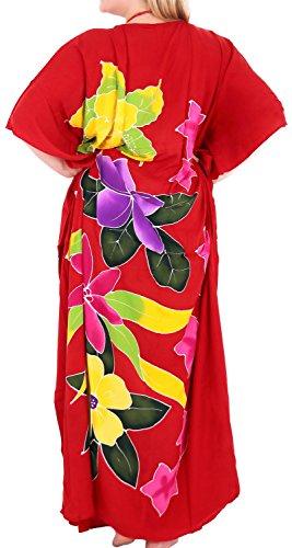 La Leela beachwear maillots de bain de rayonne des femmes couvrir caftans aloha de vêtements de nuit multiples rouge