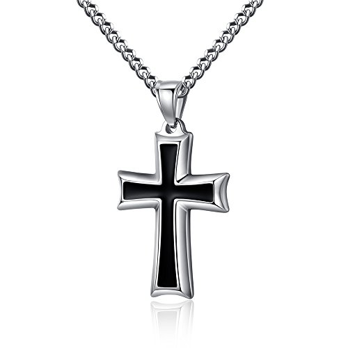 Reve Stainless Steel Black & Silver Cross Pendant Necklace for Men Women, 20-24