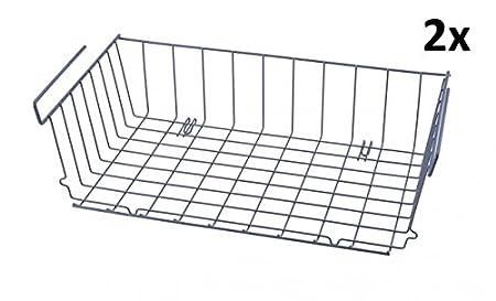 Quantio 2er Set Schrankkorbe Zum Einhangen 46 X 25 Metall Grau