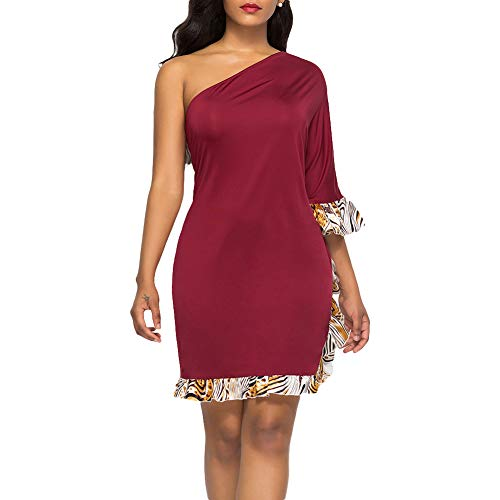 Ruffled Skirt Charm (alignmentpai Women's Dresses, One Shoulder Tiger Striped Ruffled Half Sleeve Sexy Bodycon Dress for Party Wine Red XXL)