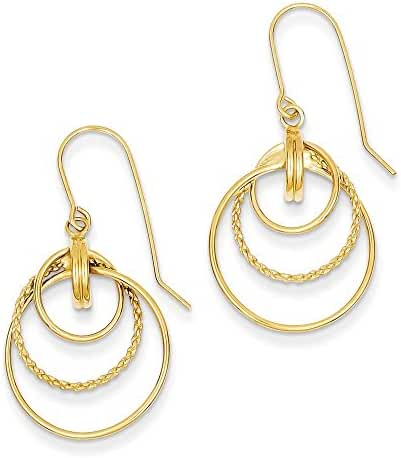 14k Polished and Textured Circle Dangle Earrings, 14 kt Yellow Gold