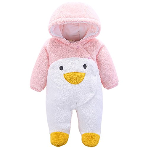 Tueenhuge Baby Boy Girl Flannel Romper Animal Onesie Hooded Pajamas Outfits Suit (3-6 month, Pink Penguin)