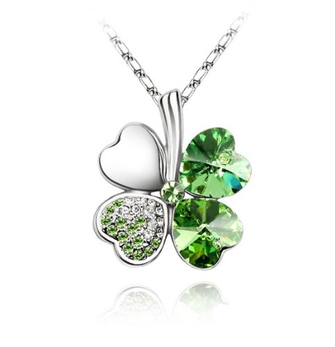 Gold Plated Austrian Crystal Lucky Four Leaf Clover Pendant Necklace (Lucky Gold Plated Necklace)