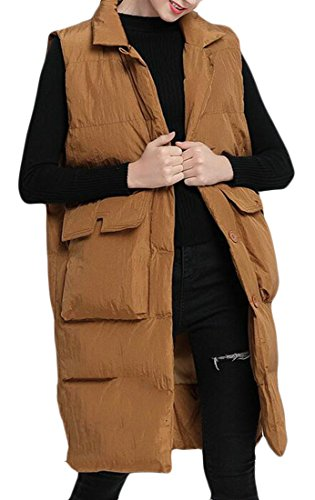 With Puffer Sleeveless Long Lapel Jacket Belt today 1 Womens Vest Down Solid UK fqBvxU
