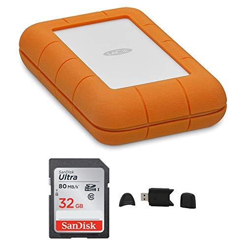 - LaCie Rugged USB-C 5TB Portable External Hard Drive + SanDisk Ultra 32GB 80MB/s SD Card + MMC MultimediaCard & SD Secure Digital Reader USB Bundle