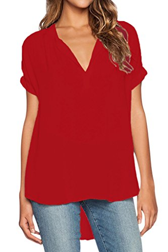 Dearlovers Women V-Neck Vintage Solid Blouse Top X-Large Red