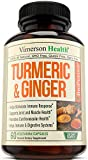 Turmeric Curcumin with Ginger & Bioperine – Best Vegan Joint Pain Relief, Anti-Inflammatory, Antioxidant & Anti-Aging Supplement with 10mg of Black Pepper for Better Absorption. 100% Natural Non-GMO For Sale