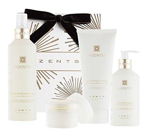 - Zents Deluxe Bath Gift Set, Unzented, Ageless Moisture Wash, Concreta, Lotion, and Body Oil, 4 - Piece Set
