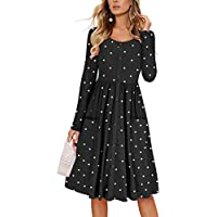 Cnokzol Women Long Sleeve Polka Printed Tunic Dress Casual Button Down Midi Dress with Pocket