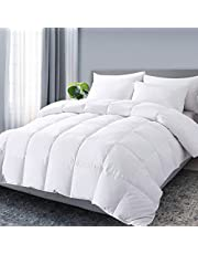 DOWNCOOL Queen Down Comforter,White Goose Duck Down and Feather Filling,Medium Warmth All Season 100% Cotton Quilted Duvet Insert (Queen,White)