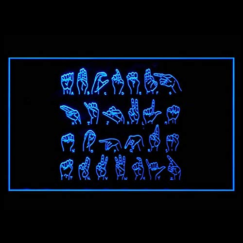 140040 ASL Alphabet Hand Signal Blog Juke Box Display LED Light Sign ()