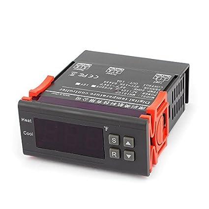 Controlador de temperatura DealMux CA 110V 10A Fahrenheit F digital a prueba de agua con sensor