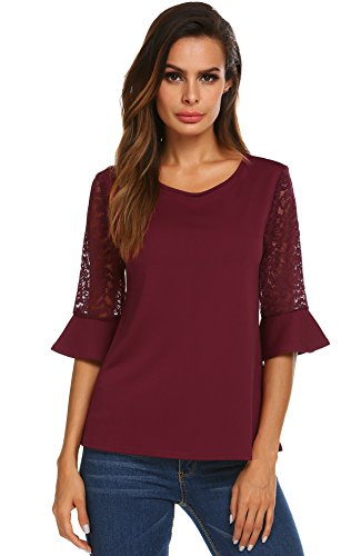 Crochet Ruffle Scarf - Women's Casual Short Bell Sleeve Tops Scoop Neck Pleated Blouses Shirts Wine Red XL